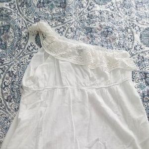 White one shoulder gauze dress